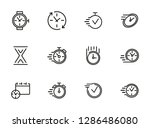 watches and clock line icon set.... | Shutterstock .eps vector #1286486080