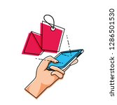 hand using smartphone with... | Shutterstock .eps vector #1286501530