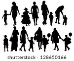 drawing parents and child | Shutterstock . vector #128650166