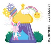cute circus rabbit with layer... | Shutterstock .eps vector #1286523139