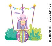cute circus rabbit with layer... | Shutterstock .eps vector #1286524423