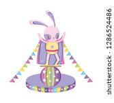 cute circus rabbit with layer... | Shutterstock .eps vector #1286524486