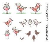 cute flock of songbirds in... | Shutterstock .eps vector #1286540113