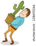 carrying cactus   Shutterstock .eps vector #128655266