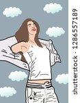 teen woman breathing fresh air... | Shutterstock . vector #1286557189