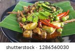 stir fried spicy eel with herbs ... | Shutterstock . vector #1286560030
