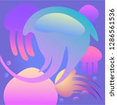jellyfish 3d background.... | Shutterstock .eps vector #1286561536