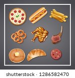set of delicious food ... | Shutterstock .eps vector #1286582470