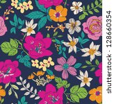 sketch flower seamless pattern... | Shutterstock . vector #128660354