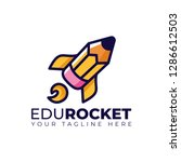 pencil rocket launch with fire... | Shutterstock .eps vector #1286612503