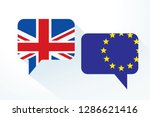 two message clouds with flags... | Shutterstock .eps vector #1286621416