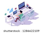 isometric 3d young businessman... | Shutterstock .eps vector #1286622109
