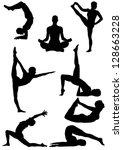set of yoga silhouette . vector ... | Shutterstock .eps vector #128663228
