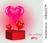 pink shiny and red heart box... | Shutterstock . vector #128663279
