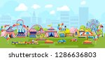 amusement park for kids plaing... | Shutterstock . vector #1286636803
