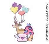 cute love reindeer with cupcake ... | Shutterstock .eps vector #1286659999