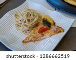 carbonara with pizza on the... | Shutterstock . vector #1286662519