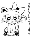 cute cat coloring outline vector | Shutterstock .eps vector #1286670016