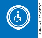 disabled icon and map pin. logo ...
