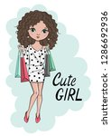 hand drawn beautiful cute...   Shutterstock .eps vector #1286692936