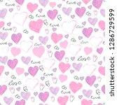 seamless pattern of hearts. ... | Shutterstock . vector #1286729599