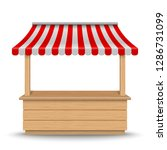 wooden market stand stall with... | Shutterstock .eps vector #1286731099