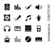 music icon set black and white | Shutterstock .eps vector #128673740