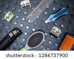 animal groomer tools on table.... | Shutterstock . vector #1286737900