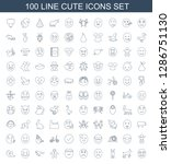 100 cute icons. trendy cute... | Shutterstock .eps vector #1286751130