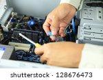 computer support technician and ... | Shutterstock . vector #128676473