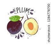vector hand draw plum... | Shutterstock .eps vector #1286778700