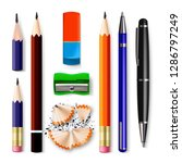 pen  pencil stationery set... | Shutterstock .eps vector #1286797249