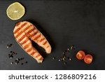 grilled salmon steak with a... | Shutterstock . vector #1286809216