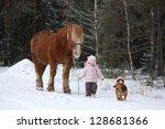 cute little girl leading big... | Shutterstock . vector #128681366
