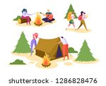 people camping forest nature... | Shutterstock .eps vector #1286828476