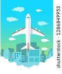 plane over the city | Shutterstock .eps vector #1286849953