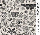 seamless botanical vintage... | Shutterstock .eps vector #1286854093