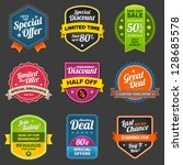 set of vector sales labels and... | Shutterstock .eps vector #128685578