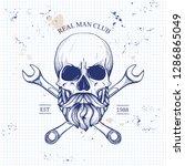 sketch of biker rider skull on... | Shutterstock .eps vector #1286865049