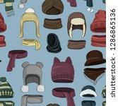 winter or autumn headwear... | Shutterstock .eps vector #1286865136