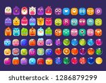 collection of colorful glossy... | Shutterstock .eps vector #1286879299