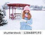 close up winter portrait of...   Shutterstock . vector #1286889193