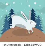 Stock vector  running hare in the winter forest vector 1286889970