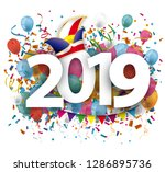 2019 with colored confetti and... | Shutterstock .eps vector #1286895736