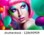 Woman With Balloons And Pink Wig