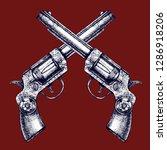 vintage beautiful revolvers... | Shutterstock .eps vector #1286918206