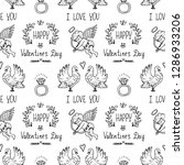 seamless pattern with cute hand ... | Shutterstock .eps vector #1286933206