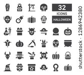 halloween icon set. collection... | Shutterstock .eps vector #1286942380