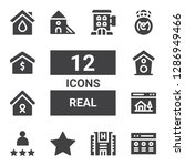 real icon set. collection of 12 ... | Shutterstock .eps vector #1286949466