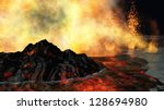 huge volcanic eruption on land | Shutterstock . vector #128694980